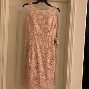 Sequined guipure lace sheath dress